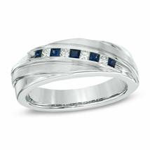 14K White Gold Over 1CT Princess-Cut  Diamond Blue Sapphire Band Men's ... - $91.77