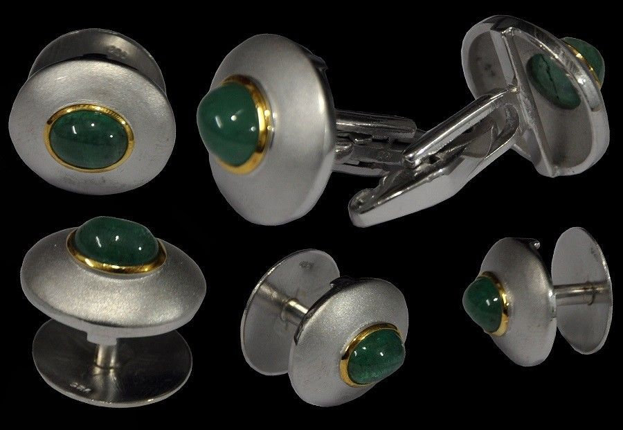 925 Sterling Silver Natural Fine Quality Emerald Gemstone Handmade Front Gold Pl image 3