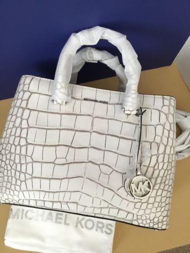 Michael Kors Savannah Large Satchel Embossed Leather - Optic White - NWT