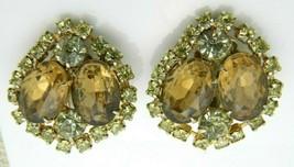 Yellow Topaz Clear Rhinestone Glass Clip Earrings Vintage - $27.72