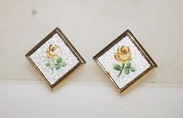 "Vintage Yellow Rose Flower Guilloche Enamel Gold Tone Clip on Earrings 1.25"" - $10.40"