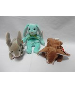 TY Beanie Baby Rabbits Hippity 1996 Ears 1995 Nibbly 1998 Easter Lot of 3 - $12.86