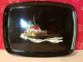 Couroc of Monterey Ship Nautical Dinner Tray Art Deco Tug Boat Black Tag On used - $77.39