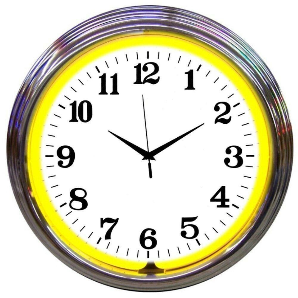 "Primary image for Chrome Yellow Standard Neon Clock 15""x15"""