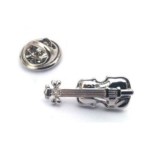 Violin Badge Lapel /tie Pin Badge 3d effect with clip for rear of badge.