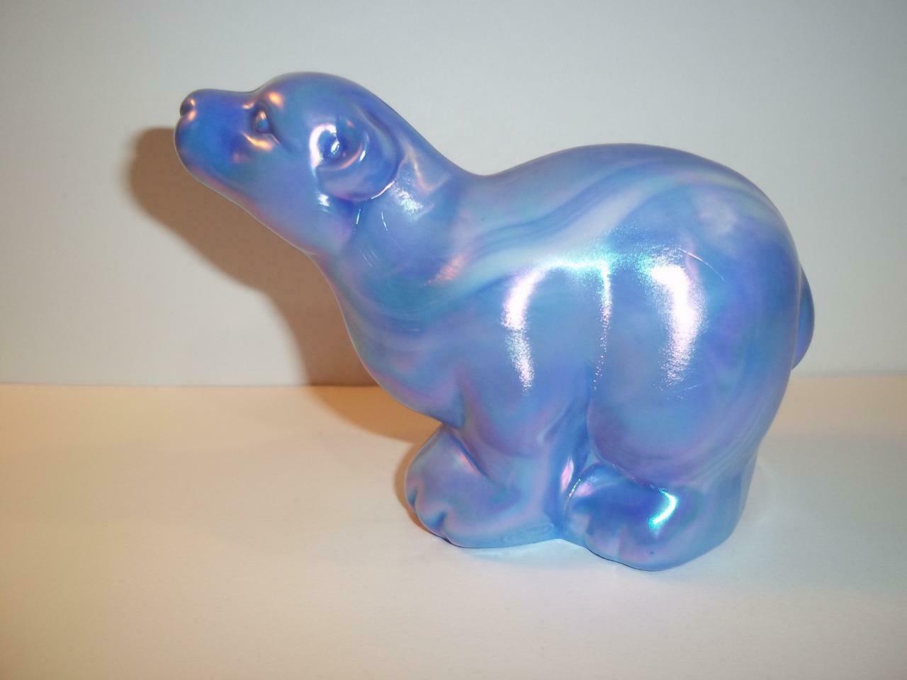 Fenton Glass Cobalt Blue & White Slag Iridized Carnival Polar Bear Figurine QVC