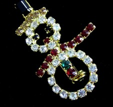 Vintage Sparkly Christmas Rhinestone Snowman Festive Gold Plated Brooch ... - $16.82