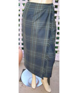 TALBOTS Stone Blue/Sage Green Plaid Long Fringed Lined Wool Wrap Skirt (... - $24.40