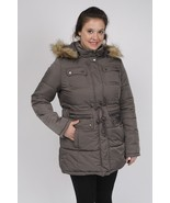 Quilted Parka With Attached Hood (Detachable Faux Fur Trim) Graphite Gra... - $58.04