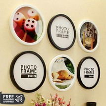 Round Photo Frame DIY Wooden Frames Hanging Wall Picture Holder Home Dec... - $13.74+