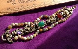 "7"" Bracelet Gold Tone Faux Pearls Cabochons, 2 Strands Stone Beads Vinta... - $11.32"
