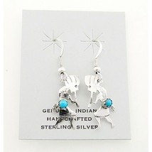 Native American Sterling Silver Kokopelli Earrings with Turquoise - €19,94 EUR