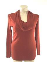 NEW Roz Ali Medium DRESSBARN cowl neck sweater burnt orange rib tunic le... - $33.95