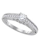 14k White Gold Round Diamond Solitaire Bridal Wedding Engagement Ring 5/... - £1,304.46 GBP