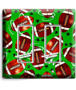 AMERICAN FOOTBALL RUSTIC BALLS DOUBLE GFI LIGHT SWITCH WALL PLATE BOY ROOM DECOR - $10.79