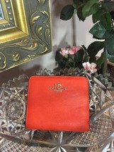 Coach Embossed Small Wallet 52339 Coral Orange Crossgrain Leather W4 - $59.39