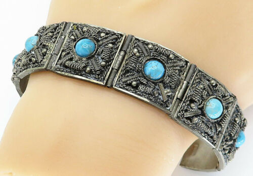 MIDDLE EAST 925 Silver - Vintage Antique Turquoise Chain Bracelet - B5820