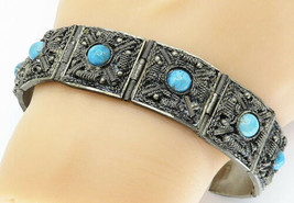 MIDDLE EAST 925 Silver - Vintage Antique Turquoise Chain Bracelet - B5820 - $155.49
