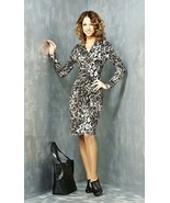 WORK DRESS STRETCH V-NECK LONG SLEEVE CASUAL KNEE LENGTH MADE IN EUROPE ... - $79.00