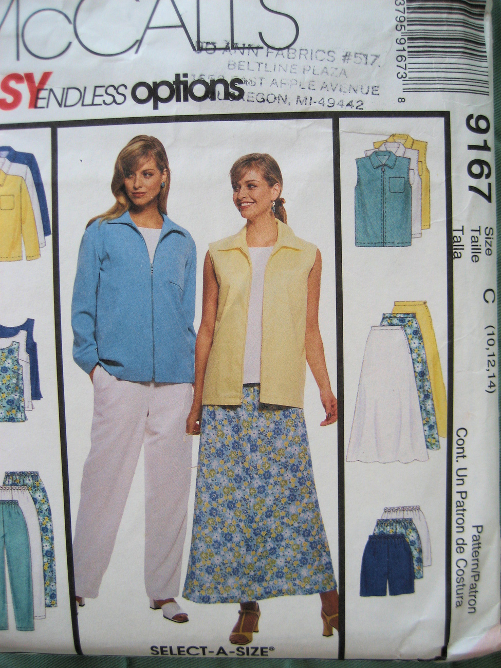 McCalls 9167 New Sewing Womans Size 10 to 4 Outfit Pattern McCall's