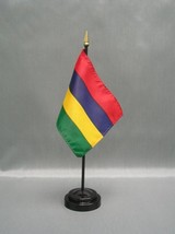 """Mauritius 4X6"""" Table Top Flag W/ Base New Desk Top Handheld Stick Flag - $4.95"""
