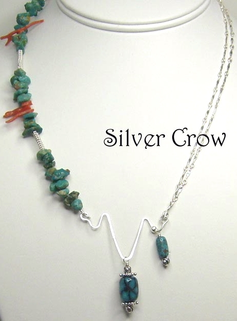 Turquoise, Coral Gemstones & Sterling Silver Abstract Necklace