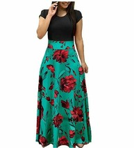 Womens Long Sleeve Maxi Dress Round Neck Floral Print Casual Tunic Long ... - $14.20