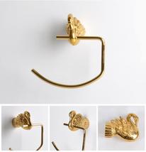 Bathroom gold color swan towel ring - $97.00