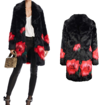 GUESS Black Red Roses Jacquard Faux Fur Hook/Eye Closure Melanie Coat NW... - $72.00