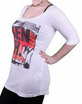 Bench Urbanwear Griswold White Relaxed Fit Wide Crew Neck Sexy T-Shirt BLGA233 image 3