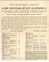 1888 NH broadsheet McKinley tariff bill industries Democratic tariff pol... - $9.00
