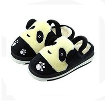 Cute Panda Winter Shoes Warm Indoor Slippers for Baby Girls (Black, L15.2CM)