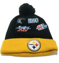 Vintage Pittsburgh Steelers Super Bowl NFL Beanie Hat Rare All Over Patch Logo - $23.75