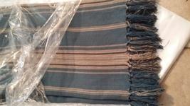 "Ralph Lauren Landings Blue Stripe Throw Blanket 54"" x 72""  - $93.66"