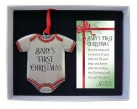 Baby's First Christmas Ornament New Red Accents 3 1/4 Inch High Gift Boxed  - $16.82