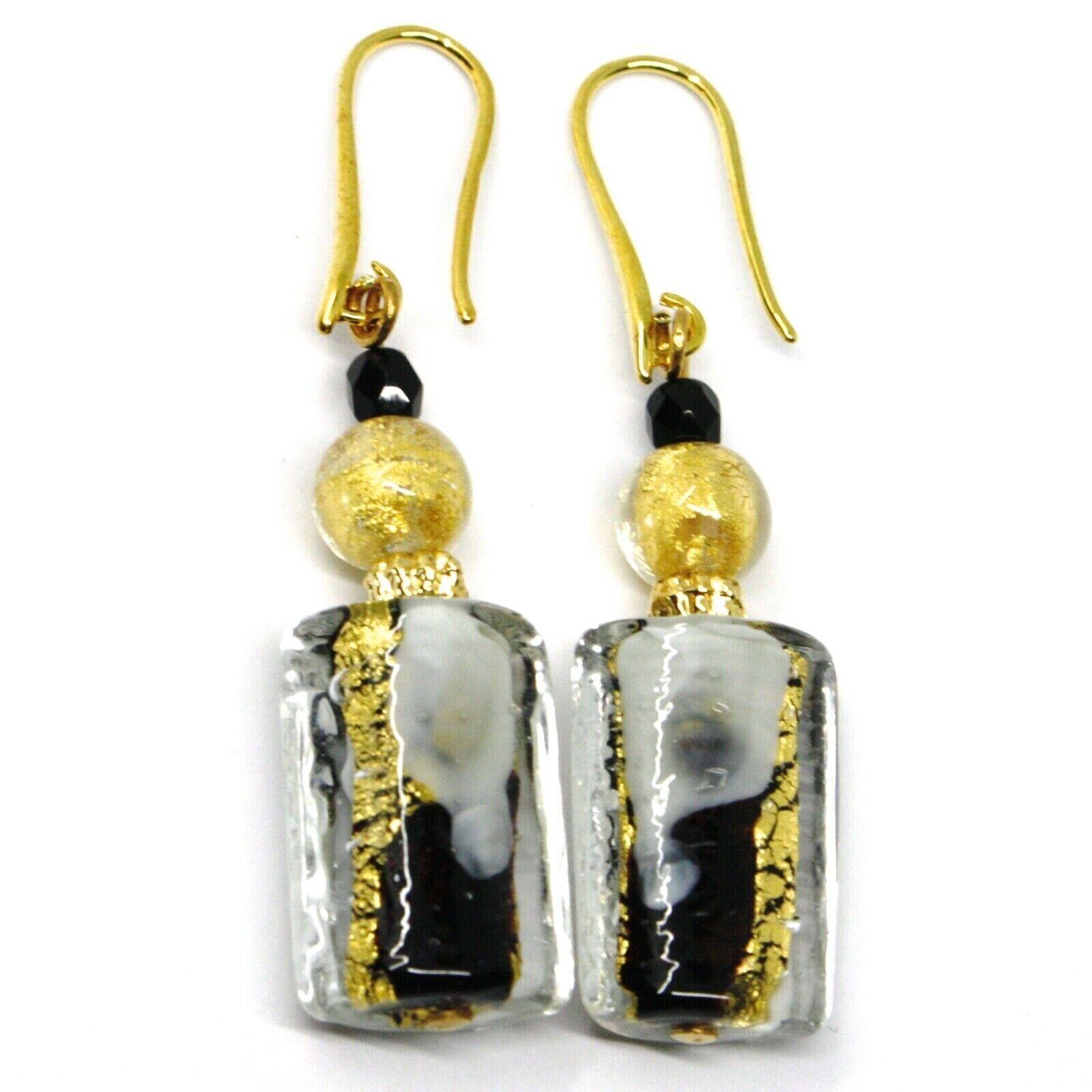 PENDANT EARRINGS BLACK MURANO GLASS RECTANGLE TUBE GOLD LEAF, MADE IN ITALY