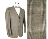 41R 1970s Vintage Mens 3 Piece Suit Yves Saint Laurent Wool Brown Plaid Wide Leg - €250,17 EUR