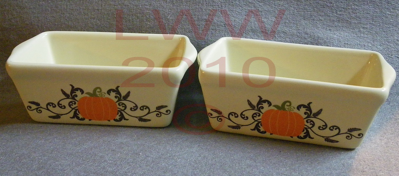 2 Harvest Autumn White Pumpkin Ceramic Loaf Bread Pans