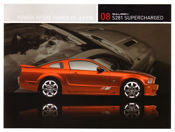 Primary image for 2008 Saleen S281 SUPERCHARGED sales brochure card sheet Mustang 08