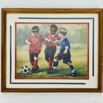 Laurie Snow Hein Home Interiors Framed Print Picture Boys Playing Soccer... - $33.22
