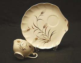Old Vintage Wheat Snack Plate & Cup Set by Lefton China Gold Wheat Pattern 2766 - $24.74