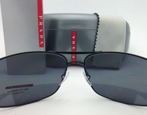 7c71bdf5e3 Polarized PRADA Sport Sunglasses SPS 53N 1BO-5Z1 65-16 Matte Black w Grey  lenses