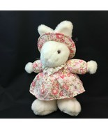 "Vintage 11"" White Easter Bunny Rabbit Plush in Pink Floral Dress & Hat - $29.65"