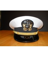 US NAVY LINE OFFICER WHITE CURRENT UNIFORM VISOR HAT AUTHENTIC NEW ALL S... - $79.00
