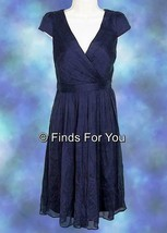 J Crew Women's Mirabelle Silk Chiffon Bridesmaid Formal Dress 4 Navy 66737 - $41.39