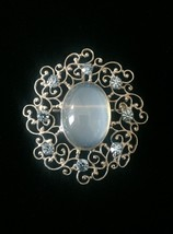 Vintage 50s Van Dell Opalite/Rhinestone Oval Brooch/pendant and Earrings Set image 3