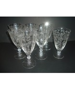 7 Fostoria Chintz Goblets -- 6 Low Water Goblets + 1 Iced Tea - $97.49
