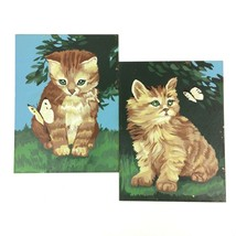 Vintage Paint By Number Golden Kittens Paintings Completed Craft Master ... - $33.14