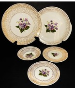 Cunningham & Pickett Homer Laughlin Spring Violet 5 Piece White Gold  22... - $49.49