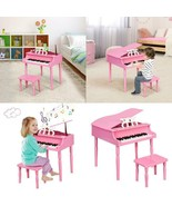 30-KEY WOOD TOY KIDS GRAND PIANO WITH BENCH & MUSIC RACK-PINK - $138.13